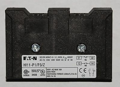 EATON CUTLER HAMMER HI11 P1 P3Z Auxiliary Contact for Maunal Motor Controller