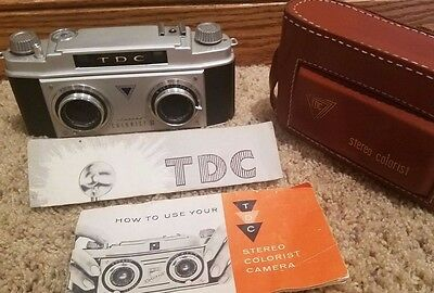 Tdc Stereo Colorist Ii Mint Camera W/ Original Leather Case & Instructions