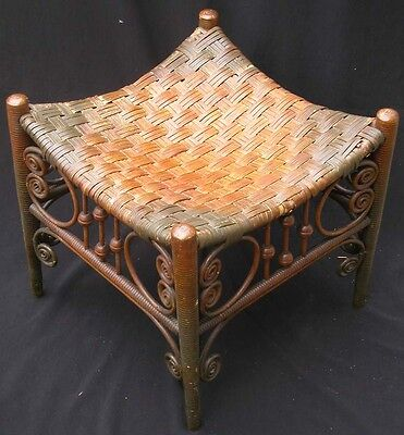Antique Egyptian Revival Thebes Stool Chair Rattan Wicker Victorian Stick Ball