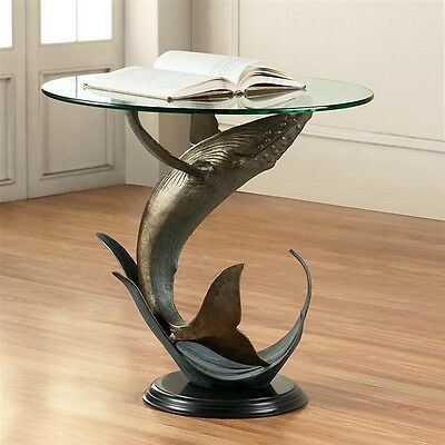 Captivating Whale Sculpture End Table with Glass Top - Ocean - Sea Life