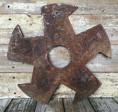 Rotary Metal Spike Cultivator Hoe Wheel Blade Vintage Industrial Steampunk Decor