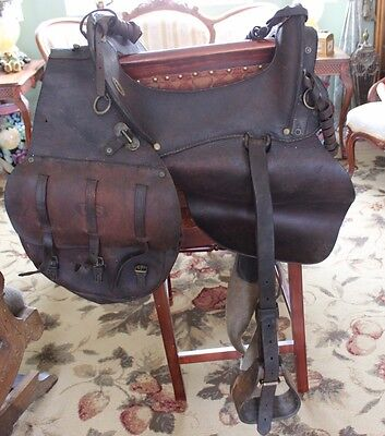 RARE Early 1900's Antique leather Wood McClellan US Calvary Complete Saddle