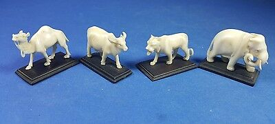 Four Antique Carved Bovine Bone Table Place Name Card Holders On Wooden Bases