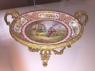 Antique Pink Sevres Centrepiece Plate With Bronze