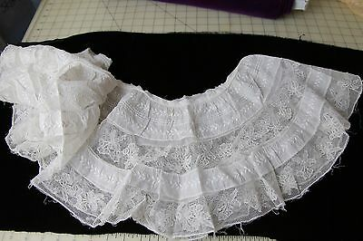 Vintage Victorian insertion lace flounce from antique lace petticoat