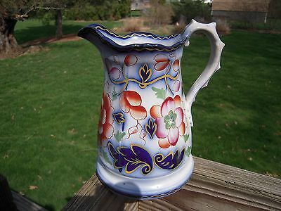 Gaudy Ironstone Jug Pitcher/Flow Blue Carnation Cobalt Leaves
