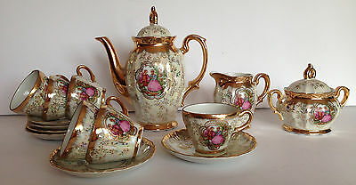 Antique 1920-1930s Gold Crown Mark Austria Demitasse Tea/ Coffee Set 24K Gold