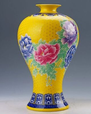 Chinese Pastel Painted Peony Flower Vase W Qing Dynasty Qianlong Mark