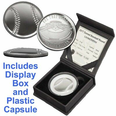 2017 Limited Edition Baseball Curved Domed 1 oz Silver BU Capsuled Round W/Box