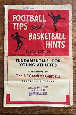 1952-53 Football Tips And Basketball Hints BF Goodrich Footwear Shoes Booklet
