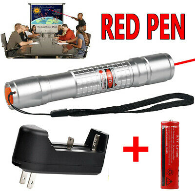 10 Miles 1MW 650nm Red Laser Pointer Lazer Pen Beam Light +18650 Battery+Charger