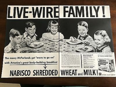 1951 VINTAGE 10X14 2 PAGE PRINT Ad NABISCO SHREDDED WHEAT LIVE-WIRE FAMILY