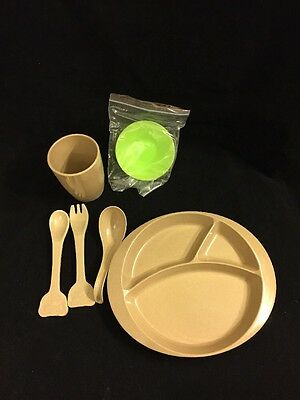 Toddler Kid Dinnerware Baby Feeding Set, Plate Suction Cup spoon fork Organic