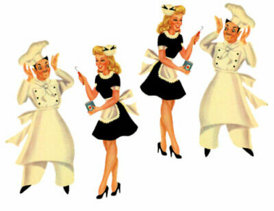 Vintage Image Large Shabby French Chef and Waitress Waterslide Decals #2 KI364