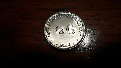 Netherlands East Indies 1944  - 1/4 Gulden Silver Coin - AU