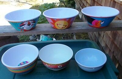 ~~ Set Of 3 Kellogg's Collectable MELAMINE Cereal  Bowls ~~ + 5 Other Bowls ~~