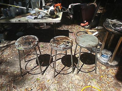 3 mid-century industrial steampunk metal bar stools