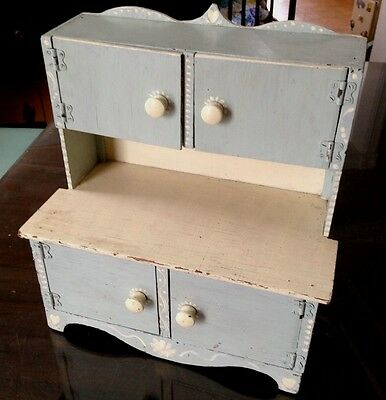 Vintage Child Size Step Back Wood Cupboard Cabinet Hutch- Hand painted  CUTE !