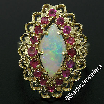 Vintage 14K Yellow Gold Marquise Opal & Round Ruby Halo Open Work Cocktail Ring