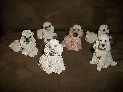 Poodle Figurine Dog  White Italy Vtg 1988 Castagna LOT OF 6 STONE CRITTERS