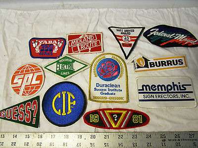 vintage Mixed Lot of 12 rare Patches Industrial Advertising Trucking Sports etc.