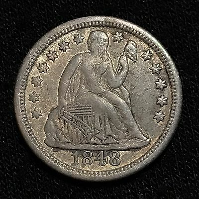 1848 Seated Liberty Dime, 10 Cents...Key Date Only 451,500 Minted...Nice!