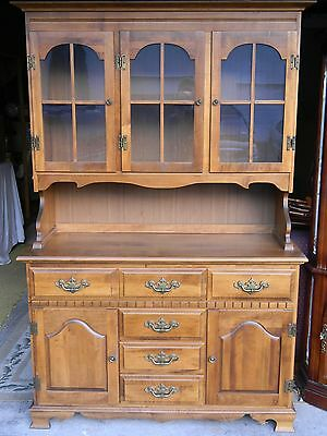 Vintage Moosehead Moose Head Solid Wood Maple Hutch China Cabinet Monson Maine