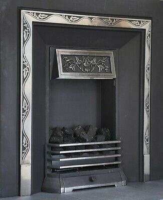 BRIGHTON-GAS COAL FIRE PLACE-DECORATIVE CAST IRON FASCIA+NECTRE 420C heater-log
