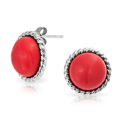 Bling Jewelry Antique Style Rope 925 Silver Round Red Coral Stud Earrings 12mm