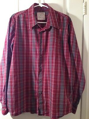 Wrangler Men's Button Down Long Sleeve Plaid Shirt Red & White Size Large