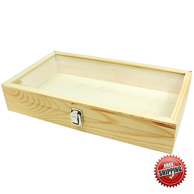 Large Wood Watch Box Glass Top Jewelry Ring Coin Display Case Storage Organizer
