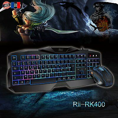 Clavier Souris Gamer AZERTY USB Gaming Jeux Video LED PC MAC