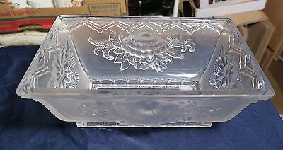 Beautiful Antique Art Deco Verlys Heavy Frosted French Crystal Bowl Planter