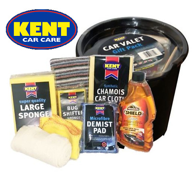 9 pcs Kent Car Wash Kit Valet Gift Pack ArmorAll Shampoo Chamois Cloth Bucket