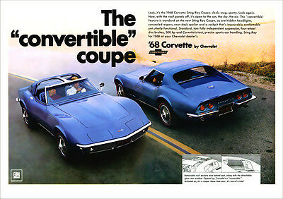 Chevrolet 68 Corvette Sting Ray Retro A3 Poster Print From 1968 Advert