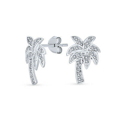 fc1f2a32e Cubic Zirconia Pave CZ Beach Palm Tree Stud Earrings 925 Sterling Silver