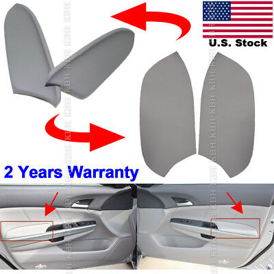 Fits 08-12 Honda Accord Sedan Leather Synthetic Door Panels Armrest Cover Gray