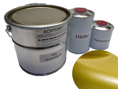 1 Litre Set 2K Car paint Yellow Gold Metallic no clear coat Lackpoint Tuning VW