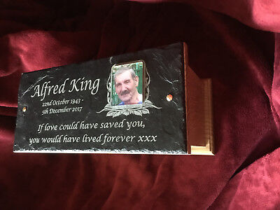 Large Funeral Ashes Casket Urn Adult & Personalised Slate Photo Memorial Plaque