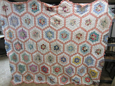 Vintage Hand Sewn Quilt Top-Peach, White & Multi-Flower Garden Pattern