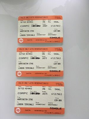 3 x Warrington to London Euston Train 8th June 2017 . With seat reservations.