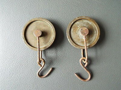 Pair of antique Grandfather Longcase clock brass pulleys - spares parts