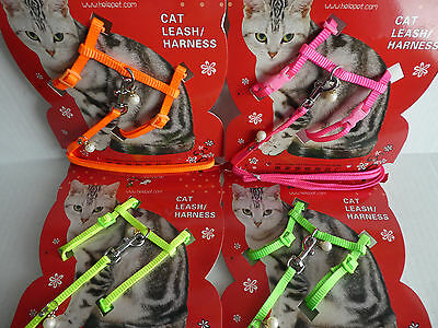 (CLEARANCE)  Cat Kitten Adjustable Harness & Lead Set With Pearl Charms