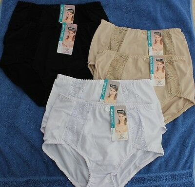6 Pairs Ladies Xxl Light Control Full Briefs Pants Lace Trims White Beige Black