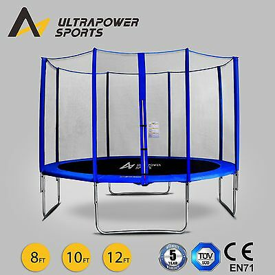 ULTRAPOWER 8 10 12FT Trampoline With Enclosure Safety Net Pad Ladder Rain Cover