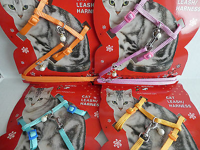 Pastel Colours with Pearl Charms Small Cat Kitten Adjustable Harness & Lead Set