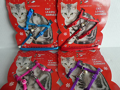 Harness with Pearl Charms Small Cat Kitten Adjustable Harness & Lead Set