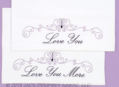 Preprinted Stamped Embroidery, Pillowcases Stitching I LOVE YOU Fabric Weddin...