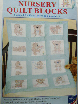 Preprinted Stamped Embroidery Quilting Blocks Stitching & X Stitch TEDDY BEAR...