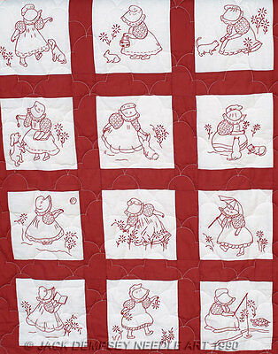 Preprinted Stamped Embroidery Quilting Blocks with Stitching SUNBONNET GIRLS ...